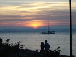 Sunset at Cowes with couple