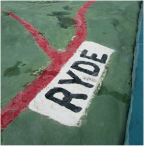 Ryde writing at Ventnor paddling pool