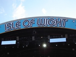 Isle of Wight sign at the festival