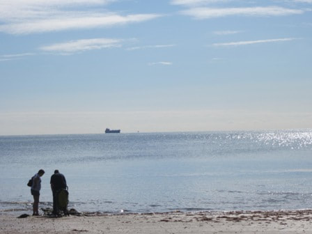 Two people at Whitecliff Bay