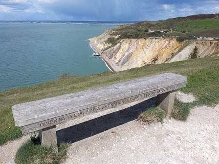 Bench overlooking Alum Bay