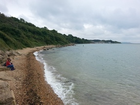 Gurnard's hidden beach behind Gurnard Sailing Club