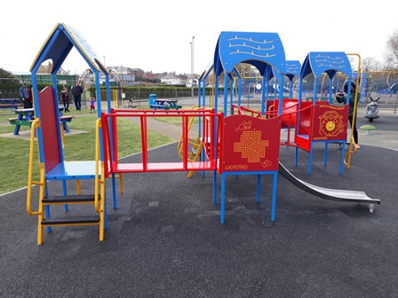 Blue and red playground at Sandham Gardens