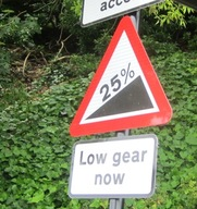 Roadsign showing a steep hill at Ventnor
