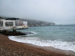 Cloudy day at Alum Bay and the Needles