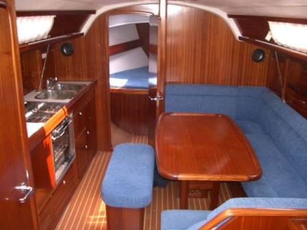 Inside the yacht for hire in East Cowes