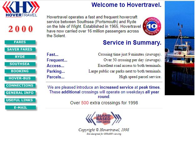 Hovertravel website from 1998