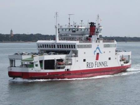 Red and white Red Funnel ferry