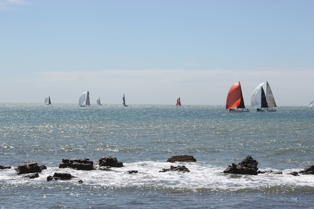 Yachts at binnel bay isle of wight