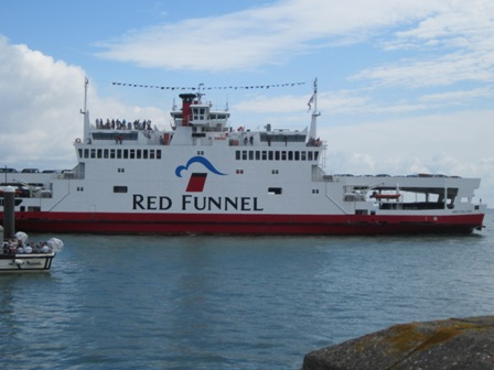 Red Funnel ferry outside Cowes