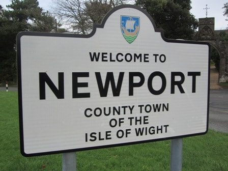 Road sign for Newport Isle of Wight