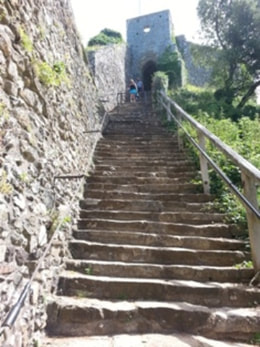 Steps to the keep at Carisbrooke Castle
