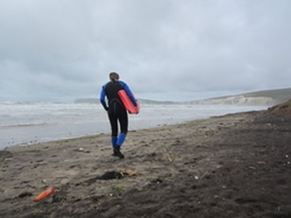 Bodyboarding at Compton Bay in Spring