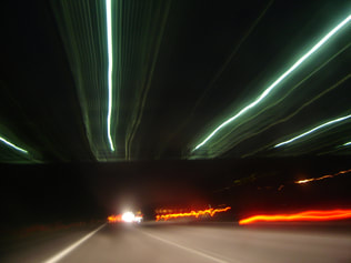 Blurry lights on a motorway