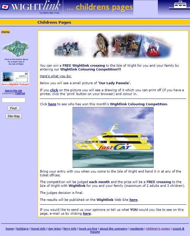 Wightlink homepage 1998