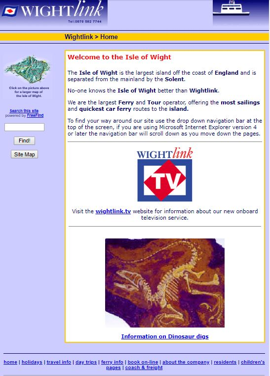 Wightlink homepage from 1998